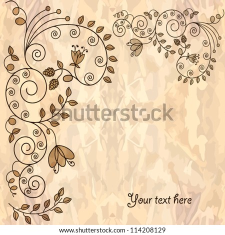 Old paper,romantic floral ornament.Vector background - stock vector