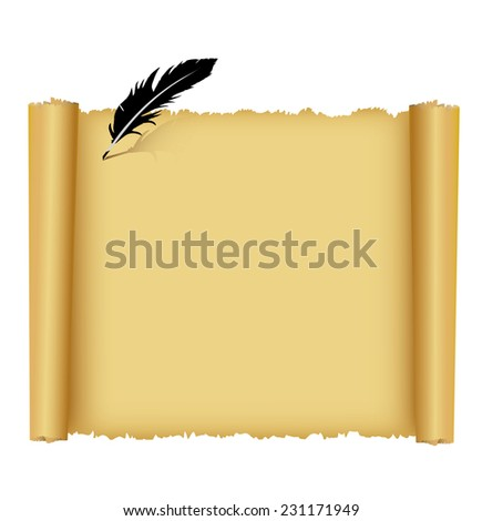 Old paper scroll and feather on white background. - stock vector
