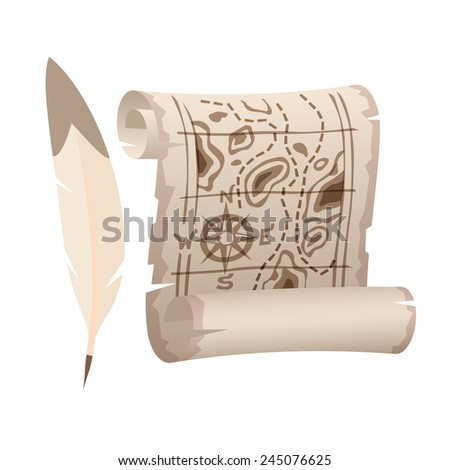 Old paper scroll map and feather. Realistic vector art illustration icon. - stock vector