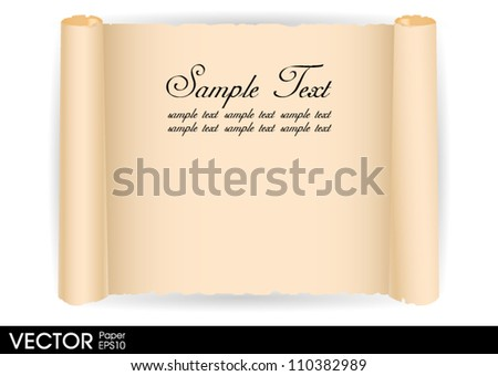 old paper scroll vector - stock vector