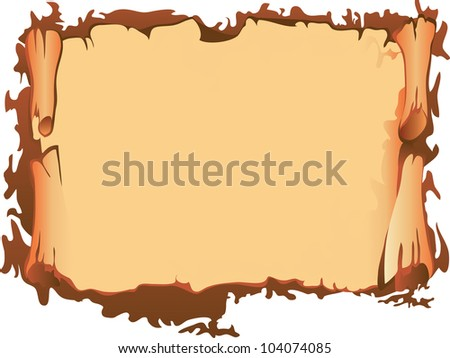 Old paper scroll, vector illustration - stock vector