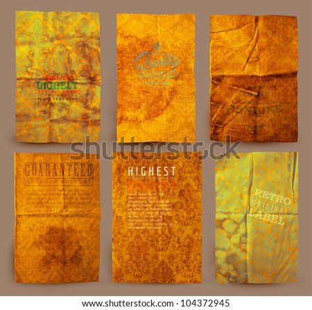 Old paper textures set: different aged paper elements collection for your layouts with seamless floral ornaments. - stock vector