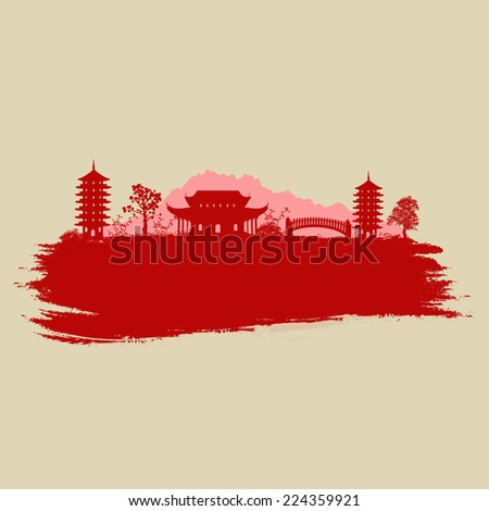 Old paper with asian landscape on vintage asian style grunge background, vector illustration - stock vector