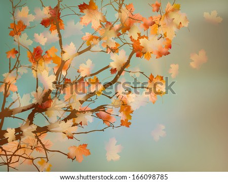 Old paper with autumn leaves. And also includes EPS 10 vector - stock vector
