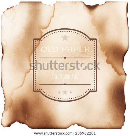 Old paper with burned edges texture background - stock vector