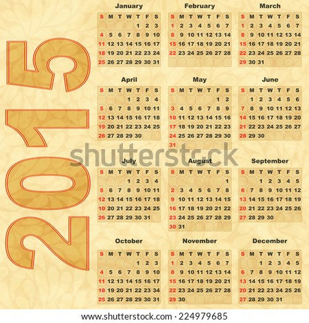 Old paper with Calendar 2015 (vector eps 10) - stock vector