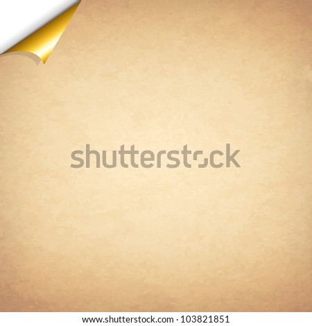 Old Paper With Gold Corner, Vector Illustration - stock vector