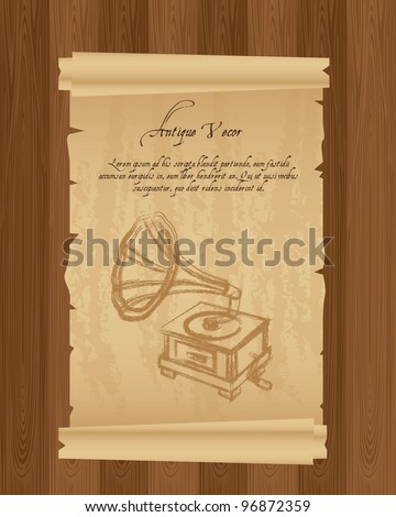 old paper with gramophone, grunge. vector illustration - stock vector