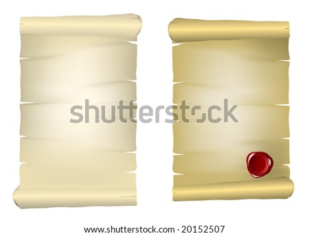 Old paper with red wax seal - stock vector