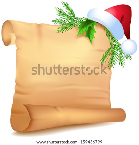 Old parchment Santa Claus  hat  with decorative Christmas spruce branches - stock vector