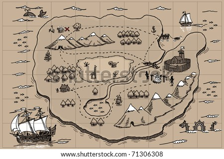 Old parchment with pirate map. Doodle - stock vector