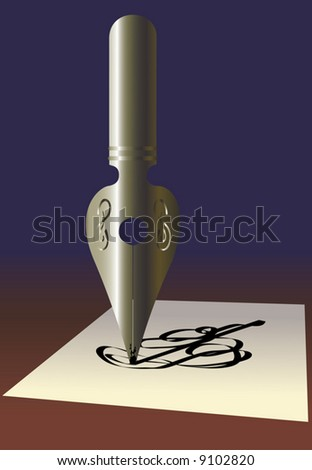 Old pen. A vector illustration. - stock vector