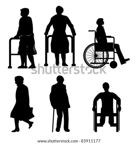 Old People Disabled Persons Vector isolated On Stock ...