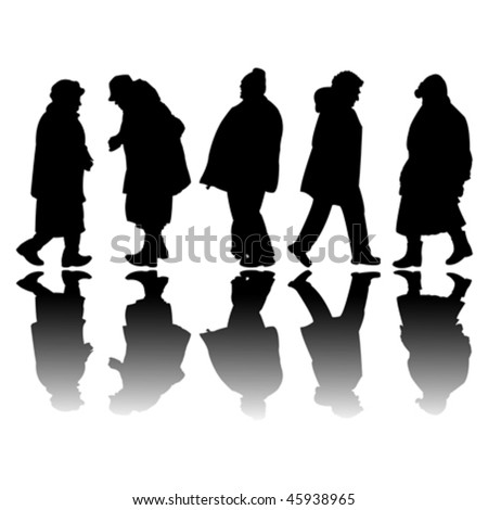 old people black silhouettes, abstract art illustration - stock vector
