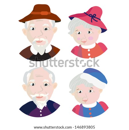 Old people couple - grandparents in retro style - stock vector