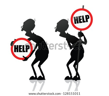 Old people need help. Senior man holding help sign in the hands. Old man silhouette isolated. Symbol for sites, banners, cards or stickers. About helping older people. - stock vector