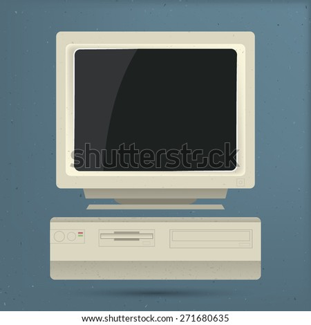 Old Personal Computer - stock vector