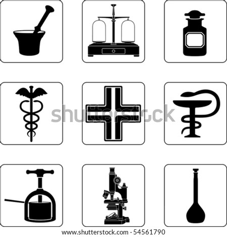 Old pharmacy objects in a nine square grid - stock vector