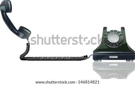 Old Phone. Eps 10 file with transparencies and drop shadow(banner).All elements are separate, easily editable in separate layers. Vector illustration scale to any size. - stock vector