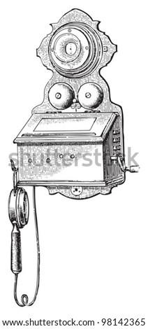 Old phone / vintage illustration from Meyers Konversations-Lexikon 1897 - stock vector
