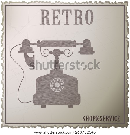 Old phone with reel. Phone icons, vector illustration