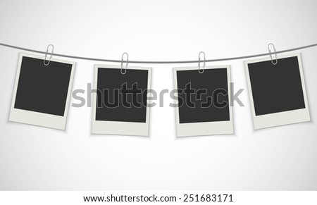 Old Photo Frame Hanging On Clip / EPS10 Vector Illustration / - stock vector