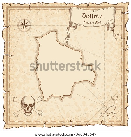 Old pirate map of Bolivia. Sepia engraved template of Bolivia pirate map. Treasure map on vintage paper.