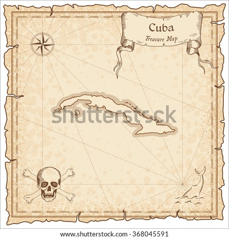 Old pirate map of Cuba. Sepia engraved template of Cuba pirate map. Treasure map on vintage paper.