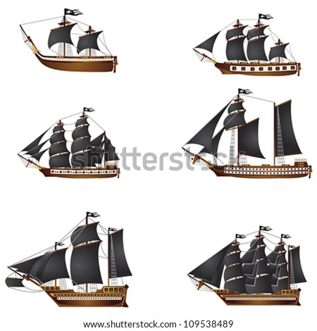 old pirate ships - stock vector