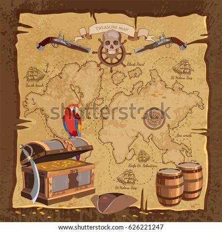 Old Pirate Treasure Map Treasure Chest Stock Vector ...