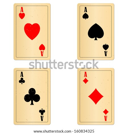 Old playng cards four aces