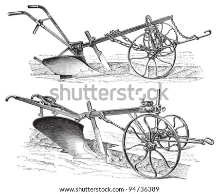 Old ploughs (made in Germany) / vintage illustration from Meyers Konversations-Lexikon 1897