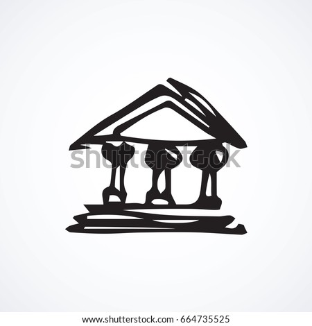Old politic edifice structure on white background. Freehand linear black ink hand drawn picture emblem sketchy in art retro scribble cartoon graphic style pen on paper. front view with space for text