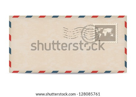 Old postage envelope with stamps isolated on white background. - stock vector