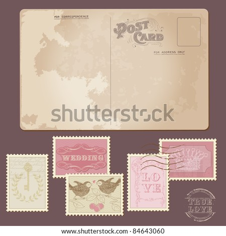 Old Postcard and Wedding Postage Stamps - for wedding design, invitation, congratulation, scrapbook - stock vector