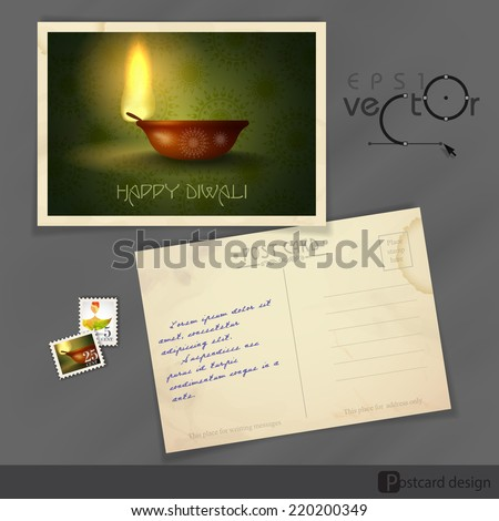 Old Postcard Design, Template. Vector Illustration. Eps 10