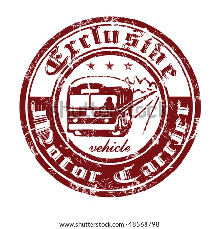 Old print trucking company with the image of the bus. - stock vector