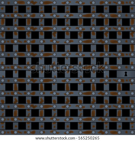 Old prison door black - stock vector
