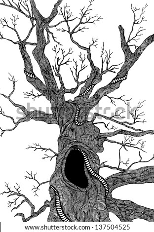 Old psychedelic tree hand-drawn illustration - stock vector