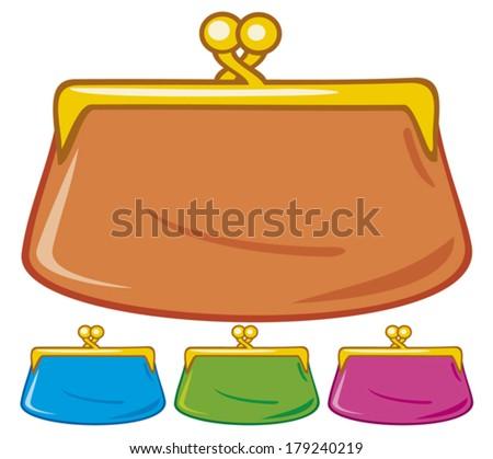 old purse (coin purse)  - stock vector