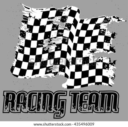 OLD RACING FLAG VECTOR - stock vector