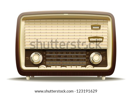 Old radio. Realistic illustration of an old radio receiver of the last century. - stock vector
