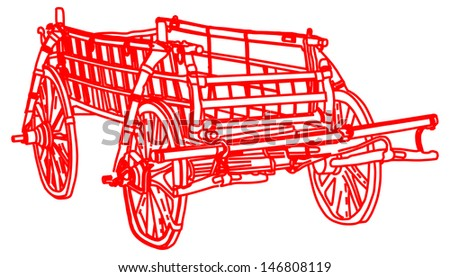 old red fairy tale carriage isolated on white background - stock vector