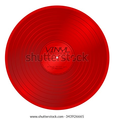 Old red plastic vinyl musical lp record with red label. gramophone shiny long play album disc 33 rpm. old technology, realistic retro design, vector art image illustration isolated on white background - stock vector