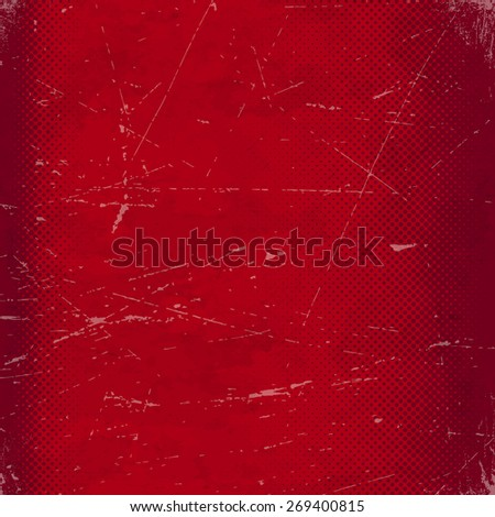 Old red scratched paper card with halftone gradient. - stock vector