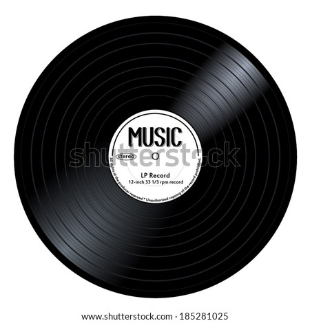 Old, retro black and white records, LPs, eps10 vector art image illustration. isolated on white background - stock vector