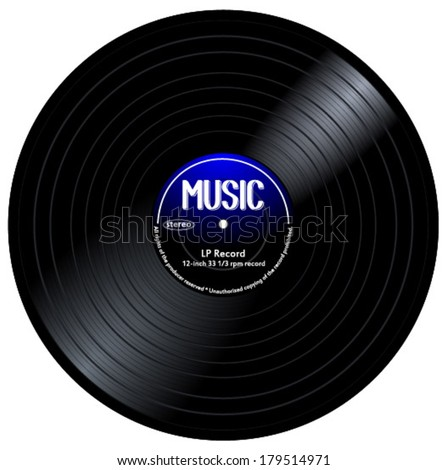 Old, retro blue-black records, LPs, eps10 vector art image. isolated on white background - stock vector