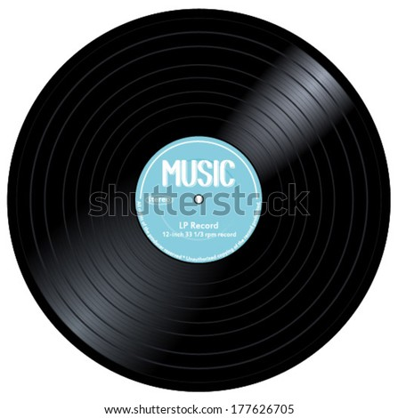 Old, retro blue records, LPs, eps10 vector art image. isolated on white background - stock vector