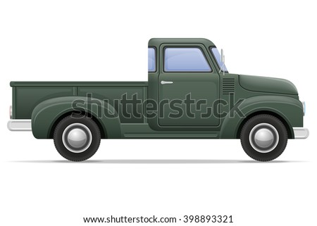 old retro car pickup vector illustration isolated on white background - stock vector