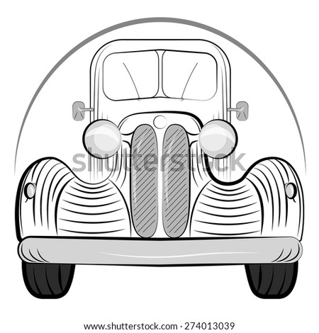 Old retro car side view vintage drawing style. Vector illustration  - stock vector